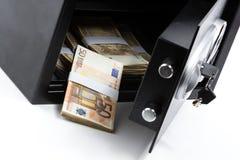 Open Safe Deposit Box, Pile of Cash Money, Euros Royalty Free Stock Images