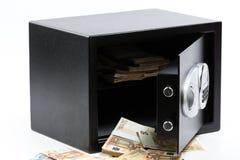 Open Safe Deposit Box, Pile of Cash Money, Euros Royalty Free Stock Image