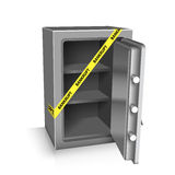 Open safe deposit 3D. Bankruptcy concept Stock Photography