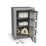 Open safe deposit 3D. Wealth concept. Vector illustration Stock Image