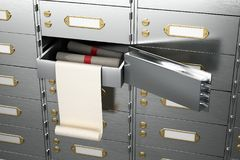 Open the safe with the dolars. Stock Photography