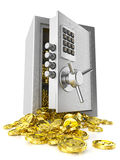 Open safe door and stack coins Stock Image