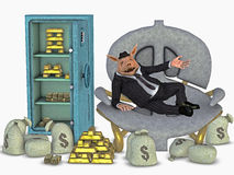 Open safe with money and gold and a rich man Stock Photos