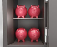 Open Safe With Piggy Shows Bank Safety Royalty Free Stock Photography