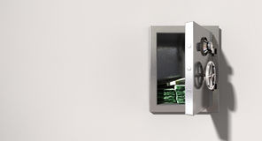 Open Safe On Wall With Australian Dollars. An open metal safe with bundles of australian dollars on a light colored  wall background Stock Images