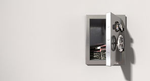 Open Safe On Wall With British Pounds Royalty Free Stock Photos