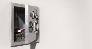 Open Safe On Wall With British Pounds Stock Photos