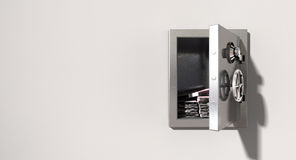 Open Safe On Wall With Euros Stock Photography