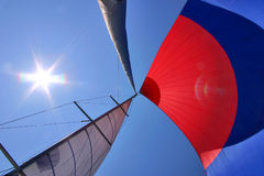 Open sails. Open color sails on sailboat stock photo