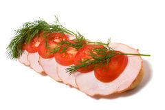 Open sandwich. Isolated on the white background Royalty Free Stock Image