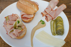 Open sandwich with cheese, baquette, ham Royalty Free Stock Photos