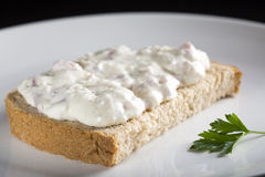 Open sandwich with cream Royalty Free Stock Image