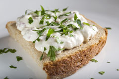 Open sandwich with cream Royalty Free Stock Photo