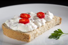 Open sandwich with cream Royalty Free Stock Images