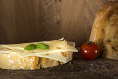 Open sandwich with emmenthal cheese Royalty Free Stock Images