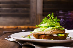 Open sandwich with fish Royalty Free Stock Image