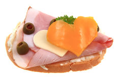 Open sandwich with heart Royalty Free Stock Image