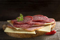 Open sandwich with meat Royalty Free Stock Images