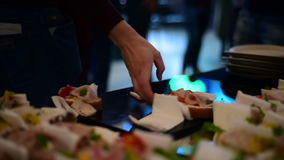 Open sandwich at the party stock footage