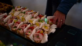 Open sandwich at the party stock video