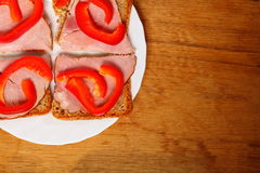 Open sandwich with red paprika ham Stock Images
