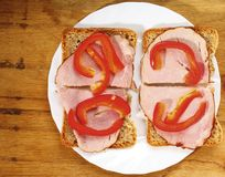 Open sandwich with red paprika ham Stock Photography