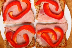 Open sandwich with red paprika ham Stock Photos