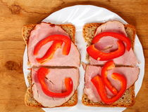 Open sandwich with red paprika ham Royalty Free Stock Image