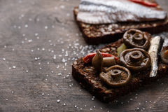 Open sandwich or smorrebrod Royalty Free Stock Image