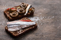 Open sandwich or smorrebrod Royalty Free Stock Photography