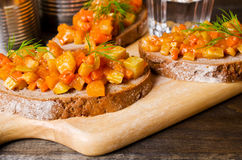 Open sandwich with vegetables Royalty Free Stock Photo