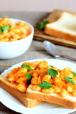 Open sandwiches with baked beans on a plate Royalty Free Stock Photography