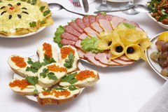 Open sandwiches and cold cuts Stock Photo