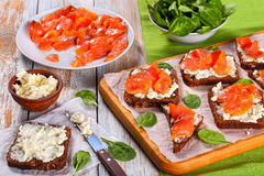 Open sandwiches with cream cheese and salmon royalty free stock photo