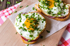 Open sandwiches with egg and cheese on a wooden background Royalty Free Stock Image