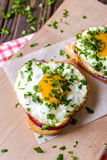 Open sandwiches with egg and cheese on a wooden background Stock Photo