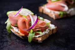 Open sandwiches with ham, tomato, cucumber and arugula. Over dark background, selective focus royalty free stock photography