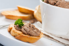 Open sandwiches with homemade chicken liver pate. Closeup Royalty Free Stock Photography