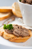Open sandwiches with homemade chicken liver pate. Closeup,  selective focus Royalty Free Stock Photo