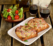 Open sandwiches for lunch with red wine. Sandwiches for lunch with red wine stock photography