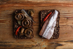 Open sandwiches or smorrebrod Stock Images