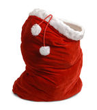 Open Santa Bag. Red Velvet Santa Bag Open Isolated on White Background royalty free stock photo
