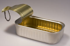 Open Sardine Can. Closeup of an open sardine can; the can is clean and the lid is up Stock Photo