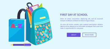 Open School Bag with Stationary Element Accessory. First day at school poster with open school bag and stationary elements pencil, paper notebook, triangular Stock Images