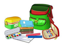 Open schoolbag. School supplies and textbooks. Goods for children's creativity. A container for storage of school lunch. Pencil case with handles. Vector Stock Image