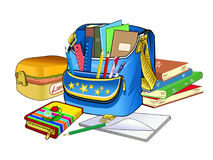 Open schoolbag. School supplies and textbooks. Goods for children's creativity. Stock Photo