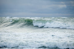 Open Sea. High Waves, Stormy and Cloudy Weather Royalty Free Stock Photo