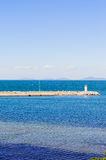 Open Sea Jetty And Islands On A Bright Day Stock Photo