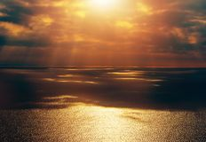 Open Sea Sunset Scenery Royalty Free Stock Images