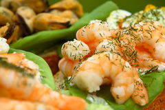 Open seafood sandwiches - praw Stock Photo